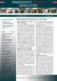 ZAR Newsletter 08/2013 - Kärntner Rinderzuchtverband
