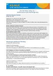 Kultur Wandertage 2011 - KS:NUE - Kultur- und Schulservice ...