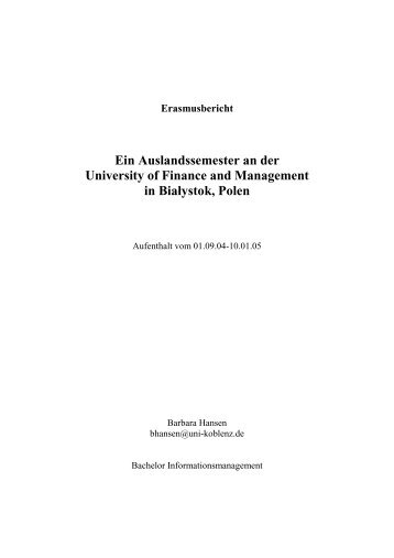 Erasmusbericht Ein Auslandssemester an der University of Finance ...