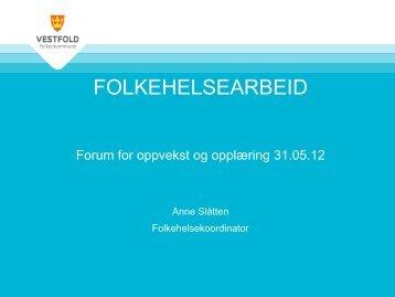 FOLKEHELSEARBEID I VESTFOLD status - KS