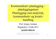 Kommunikativ planlegging – planleggingsteori Planlegging ... - KS