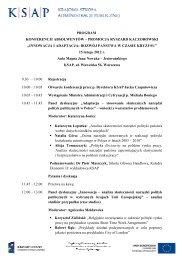 Program konferencji - Krajowa Szkoła Administracji Publicznej