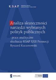 Analiza skuteczności narzędzi wybranych polityk publicznych