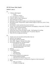 2013 KS Forum: Oahu, Kapolei GROUP 1 (edu 1) Q1: Collective ...