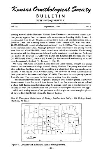 Vol. 34, No. 3 - Kansas Ornithological Society