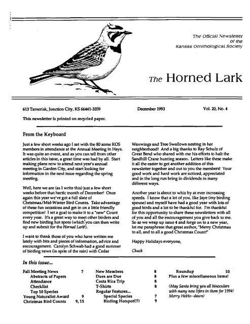 Volumes 11 Kansas Ornithological Society
