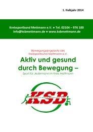 Kursprogramm 1. Halbjahr 2014 - Kreissportbund Mettmann e.V.