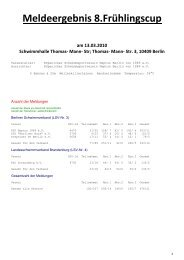 Meldeergebnis 8.Frühlingscup - KSC-Schwimmen