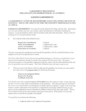 notice to the judgment debtor of garnishment of property other