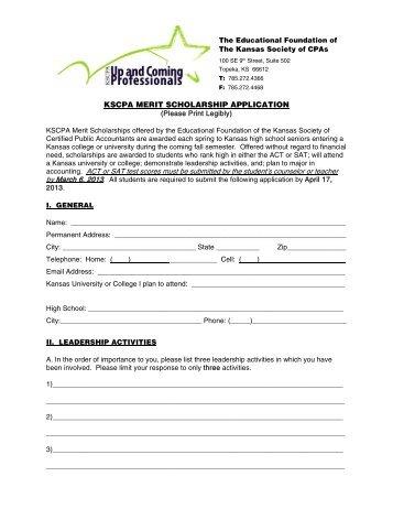 kscpa merit scholarship application - Kansas Society of CPAs ...