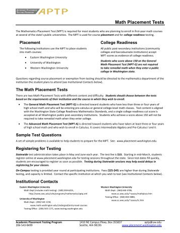 Placement Test Sample Questions - Mesa Community College