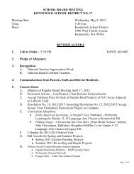 School Board Meeting Agenda - Kennewick School District
