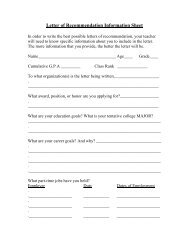 Letter of Recommendation Information Sheet