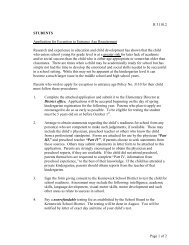 Application for Exception to Entrance Age Requirement - Kennewick ...