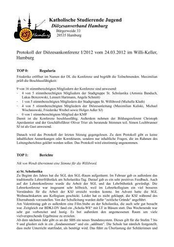 Protokoll der Diko I – 2012 - KSJ Hamburg