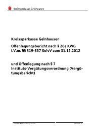 Kreissparkasse Gelnhausen Offenlegungsbericht nach § 26a KWG ...