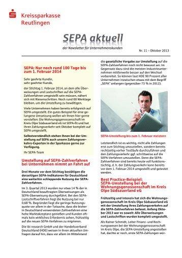 SEPA-Newsletter herunterladen - Kreissparkasse Reutlingen