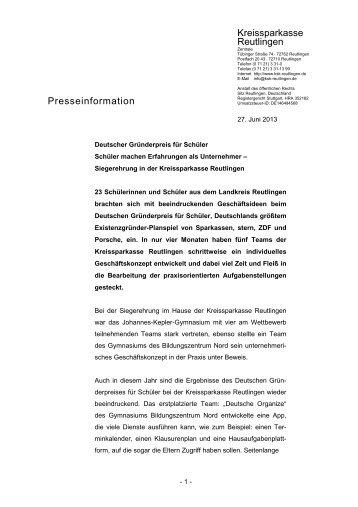 Presseinformation | Deutscher Gründerpreis für Schüler 2013