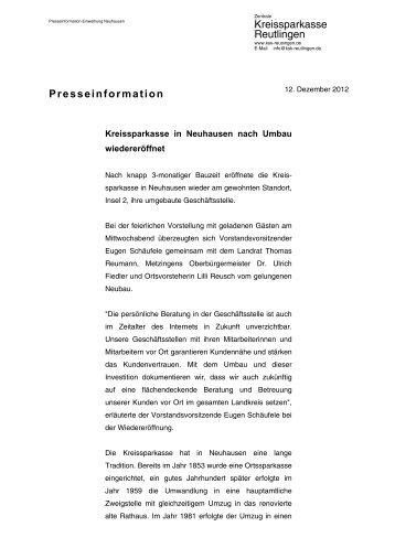 Presseinformation | Kreissparkasse in Neuhausen nach Umbau ...