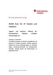 46.565 Euro für 37 Vereine und Initiativen - Kreissparkasse Tübingen