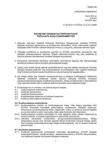 KVÜÕA töötajate koolituspõhimõtted.rtf - Kaitseväe Ühendatud ...
