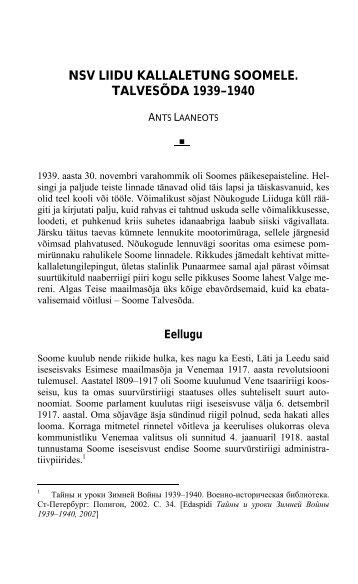 NSV LIIDU KALLALETUNG SOOMELE. TALVESÕDA 1939–1940