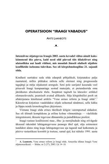"""operatsioon """"iraagi vabadus"""" - Kaitseväe Ühendatud Õppeasutused"""