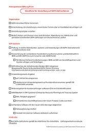 Checkliste für Umstellung auf SEPA-Zahlverfahren Firmenkunden