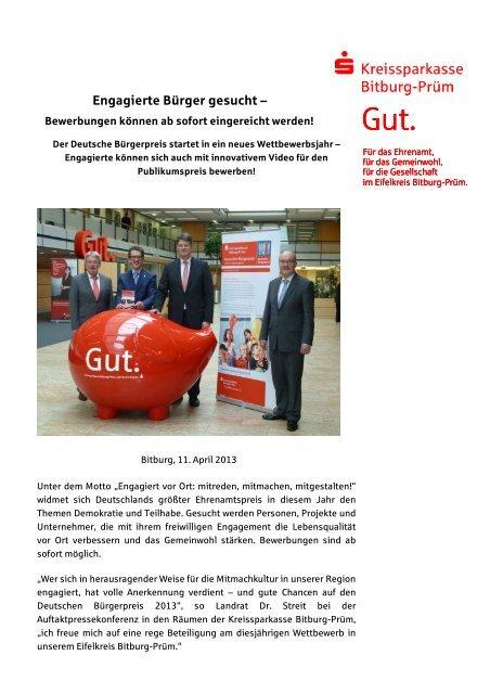 Pressemitteilung Internet - Kreissparkasse Bitburg-Prüm