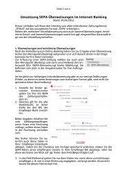 Umsetzung Überweisungen im Internet-Banking