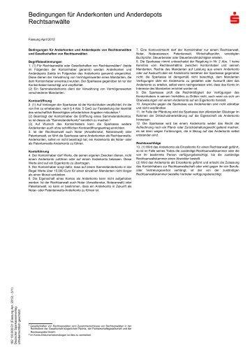 Bedingungen für Anderkonten und Anderdepots Rechtsanwälte