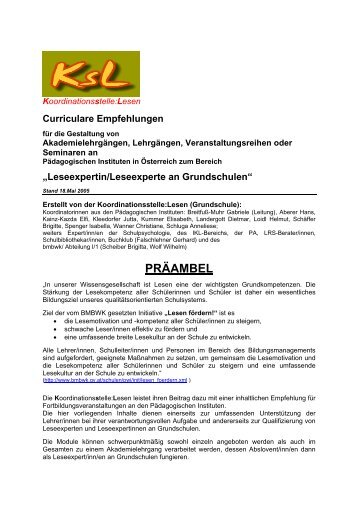 Curriculare Empfehlungen - Koordinationsstelle: Lesen - Salzburg.at