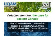 V i bl t ti th f Variable retention: the case for eastern Canada