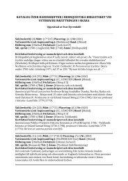 Katalog över handskrifter i Hernquistska biblioteket - och ...