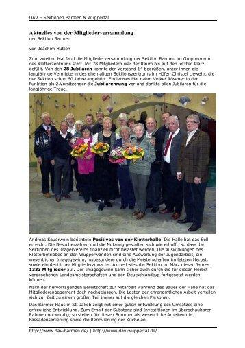 Aktuelles von der Mitgliederversammlung - DAV-Sektion Wuppertal