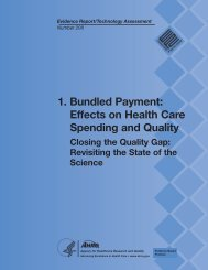 1. Bundled Payment: Effects on Health Care Spending and Quality