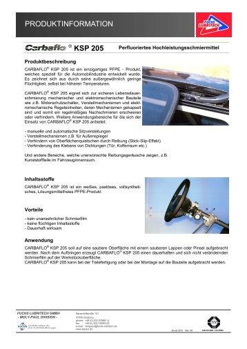 PRODUKTINFORMATION CARBAFLO ® KSP 205 - KS Paul GmbH