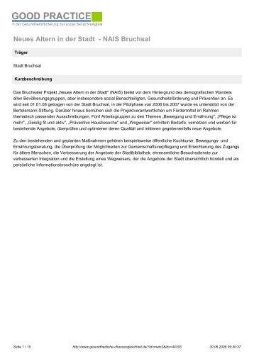 Neues Altern in der Stadt - NAIS Bruchsal - Kreisseniorenrat