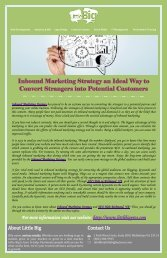 Inbound Marketing Strategy an Ideal Way to Convert Strangers into Potential Customers
