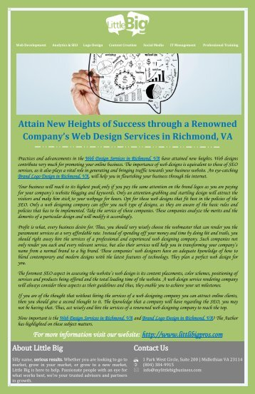 Attain New Heights of Success through a Renowned Company's Web Design Services in Richmond, VA
