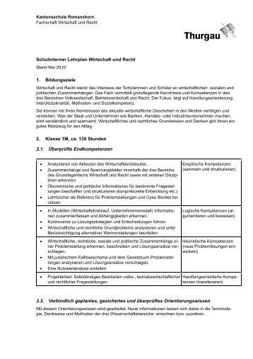Schulinterner Lehrplan Wirtschaft und Recht 1. Bildungsziele 2 ...