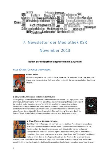7. Newsletter der Mediothek KSR November 2013