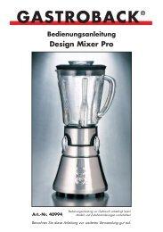 Bedienungsanleitung Design Mixer Pro GASTROBACK