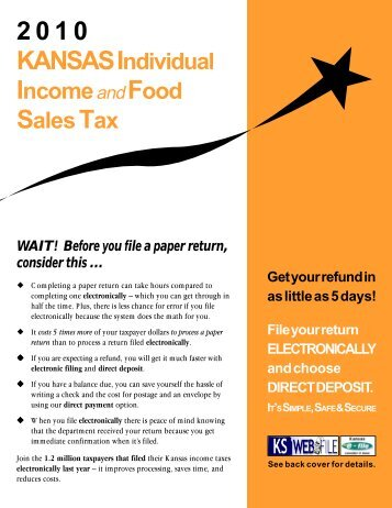 Individual Income and Food Sales Tax Instructions - Kansas ...