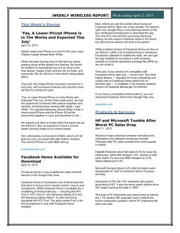 Weekly Wireless News - Apr 12, 2013