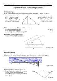 Trigonometrie am rechtwinkligen Dreieck - Kantonsschule Solothurn
