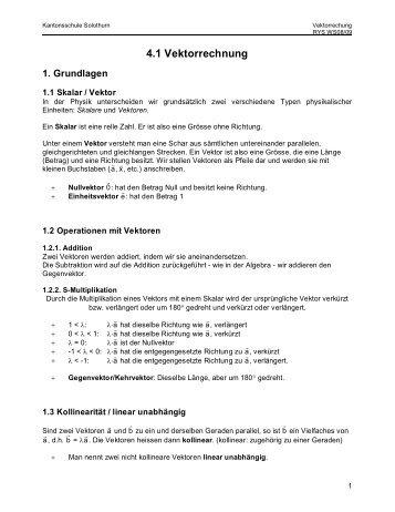 4.1 Vektorrechnung 1. Grundlagen - Kantonsschule Solothurn
