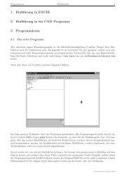 1 Einführung in EXCEL 2 Einführung in ein CAD–Programm 3 ...