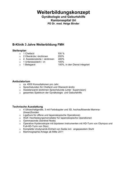 Ausbildungskonzept Geburtshilfe und Gynäkologie - Kantonsspital Uri