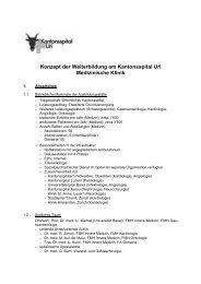 Konzept der Weiterbildung am Kantonsspital Uri Medizinische Klinik
